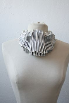 Necklace   Mia Morikawa ~ Kapow Wow Designs. Hand made from recycled pleated faux-leather