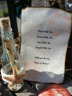Invitation Message In a Bottle Will You Be by seashellsbyseashore