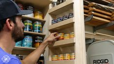 How to Build DIY Wall Cabinets with 5 storage options. Customize these shop cabinets to organize your garage or workshop. Video tutorial and plans! Diy Garage Storage Cabinets, Garage Tool Storage, Wall Cabinets, Garage Workbench, Bike Storage, Garage Organization, Paint Storage, Shop Storage, Storage Ideas