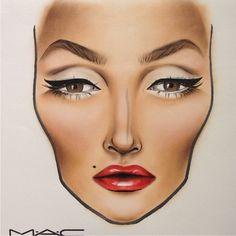 makeup face chart inspo for MUA Mac Makeup, Makeup Eyeshadow, Makeup Brushes, Beauty Makeup, Makeup Tips, Mac Brushes, Drugstore Beauty, Makeup Goals, Makeup Inspo