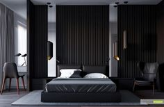 25 красивых спален с ламелями на стенах