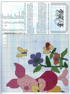 piglet & pooh in flower garden part 1 Disney Stitch, Disney Cross Stitch Patterns, Cross Stitch Fairy, Cross Stitch Freebies, Knit Stockings, Christmas Knitting, Eeyore, Cross Stitching, Pixel Art