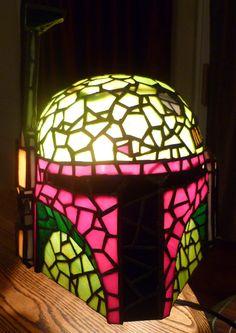 Boba Fett stained glass helmet lamp! I need one.