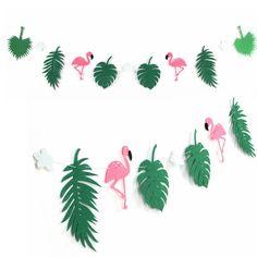 Flamingo And Cocunut Leaves Garland Summer Party Garland Birthday Photo Prop Tropical Luau Pool Hawaiian Party Flamingle Decor