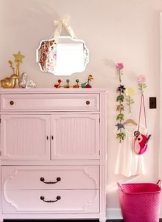 Paint g-gma's cabinet soft pink for extra storage in her room.