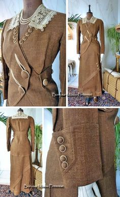Suit ca. 1912. Brown linen with lace collar and covered buttons. Front closure of the jacket with two buttons. Closure of the skirt with hooks and eyes. Antique-Gown