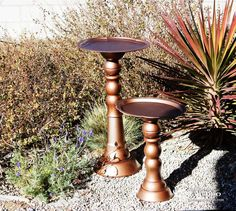 """Who'd ever guess these """"metallic"""" birdbaths are made of dollar store dishes?"""