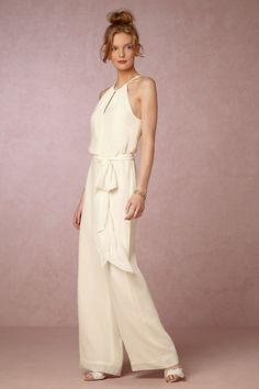 When a skirt or dress isn't your style, this elegant jumpsuit is your answer! Soft chiffon lends romance while the high neck and peekaboo keyholes at the front and back add sophistication. Wedding Guest Gowns, Bhldn Wedding Dress, Backless Wedding, Wedding Dresses, Wedding Outfits, Party Dresses, Wedding Frocks, Wedding Attire, Cheap Red Bridesmaid Dresses