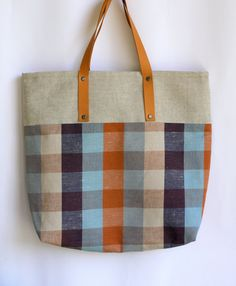 everywhere market linen bag with leather handle