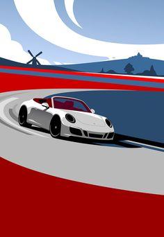 Cool Car Drawings, Car Prints, Car Illustration, Car Posters, Porsche Cars, Automotive Art, Car Painting, Car Wallpapers, Vintage Racing