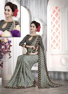 Flawless Faux Chiffon Patch Border Work Casual Saree