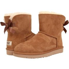 UGG Mini Bailey Bow Women's Boots ($150) ❤ liked on Polyvore featuring shoes, boots, ugg, ugg mini bailey bow chestnut, ankle boots, lace up bootie, short boots, low heel ankle boots and faux fur boots