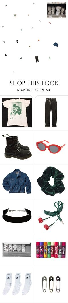"""""""why do i smile at people who i'd much rather kick in the eye?"""" by the-soft-parade ❤ liked on Polyvore featuring McQ by Alexander McQueen, Dr. Martens, Topshop, Forever 21, Boohoo, adidas, Concord, Tim Holtz, Holga and vintage"""