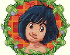 Mowgli Cross Stitch Pattern-Disney, Jungle Book, Cartoons