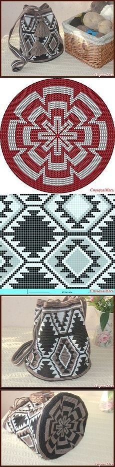 pattern chart for cross stitch crochet knitting knotting beading weaving pixel art micro macrame and other crafting projects - PIPicStats Tapestry Crochet Patterns, Crochet Motifs, Crochet Chart, Crochet Stitches, Crochet Diagram, Knitting Patterns, Crotchet Bags, Knitted Bags, Crochet Handbags