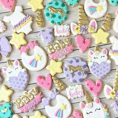 Sweet unicorn baby shower cookies! . . . . . #unicorncookies #babyshowercookies #customcookies #baby #babycookies #uvalde #texas #uvaldetx… Baby Shower Niño, Unicorn Baby Shower, Unicorn Party, Baby Cookies, Baby Shower Cookies, Cookie Designs, Cookie Ideas, Iced Sugar Cookies, Unicorn Cookies