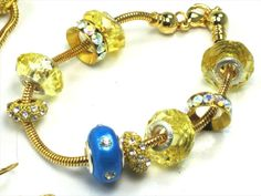 Bright Blue and 14kt Gold Filled EUROPEAN Style Jewelry SET by Chris of FantasyDesign, $75.50