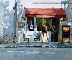 """La Promenade Cafe in sunlight"" - Original Fine Art for Sale - © David Morris"