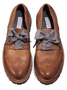 Brown oxfords with silk ribbon laces