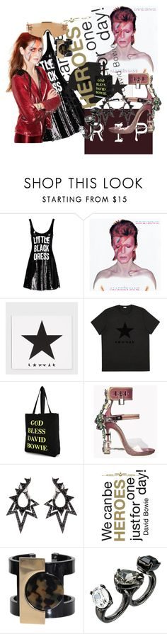 """""""David Bowie RIP"""" by roxariaone ❤ liked on Polyvore featuring moda, Moschino, Paul Smith, House Of Voltaire, Stephen Webster, Brewster Home Fashions, Paolo Errico, Oscar de la Renta y Jeremy Scott"""