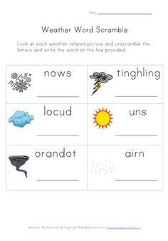 Weather Worksheet - Word Scramble