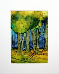 Study of trees - AI on Yupo - 5 x 7