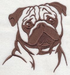 2 Pug Dog Animal Rescue embroidered fabric sewing quilt blocks squares