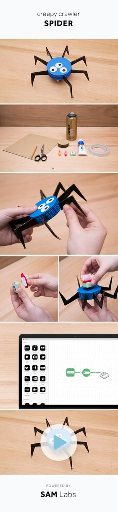 How to tackle arachnophobia. Get your spidey senses on! All you'll need is a SAM vibration block, old cardboard, and two old toothbrush heads. samlabs.com Industrial Design, Crafts For Kids, Coding, Sams, Projects, Blue Prints, Industrial By Design, Kids Arts And Crafts, Easy Kids Crafts