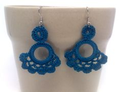 Teal floral crochet earrings. Andalucia by GloriaSanchezArtist