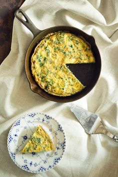 A quick and easy meatless meal, this frittata is flavorful and filled with dark green kale and artichoke hearts.