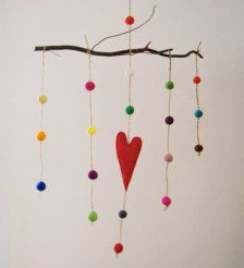 Baby Mobile/ Wool Felt Rainbow Balls With Red Heart/ Nursery Decor/ Made To Order/ New Baby Gift Ide Nursery Themes, Nursery Decor, Themed Nursery, Baby Mobile Felt, Baby Mobiles, Rainbow Nursery, Hearts And Roses, Heart Decorations, Felt Ball