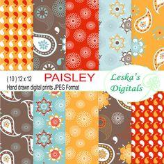 Paisley Digital Paper Pack red blue brownand orange by DigitalWork, $3.00