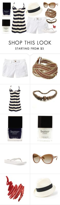 """Navy and White"" by tlb0318 on Polyvore featuring Old Navy, VIcenza, Butter London, Yellow Box, Jimmy Choo, Napoleon Perdis, Heather Huey, shorts, nailpolish and butterlondon"