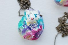 Watercolour Cat Amulet by ginettepomette on Etsy