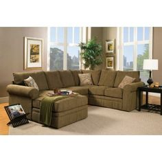 The Jensen Tarragon Reversible Sectional Sofa In Sage Green