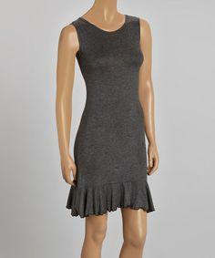Loving this Charcoal Ruffle Hem Dress on #zulily! #zulilyfinds