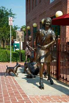 Grapevine, Texas.  Our city has beautiful art sculptures of past activities and prominent citizens.  Love this one of kids playing on a sidewalk outside a local restaurant.