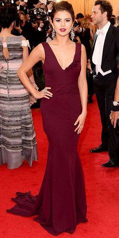 Selena Gomez in burgundy Diane von Furstenberg gown at the 2014 Met Gala