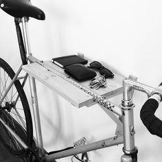 silver chromium fixie bike black saddle bike shelf storage space @artscyclery