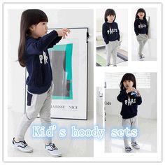 Retail girls boys clothing sets Baby paris long sleeve Hoodies+Pants Sport suits 2pcs kids Set Children clothes casual  LJ193QAF