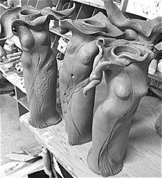 In Progress Raku candle forms Slab Pottery, Ceramic Pottery, Pottery Wheel, Sculptures Céramiques, Sculpture Ideas, Clay People, Pottery Handbuilding, Ceramic Techniques, Ceramic Figures