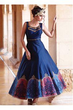 83c19345c1394c Festival Wear Readymade Pure Bhagalpuri Gown - 16879. Net GownsVelvet  GownSatin ...