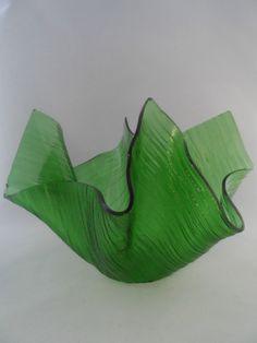 Chance Glass Large Green Cotswold Handkerchief Vase | eBay