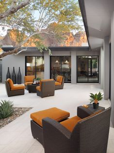Contemporary Patio Design Ideas, Pictures, Remodel and Decor Modern Patio Design, Outdoor Patio Designs, Contemporary Patio, Backyard Ideas, Backyard Patio, Contemporary Style, Outdoor Living Areas, Outdoor Rooms, Outdoor Furniture