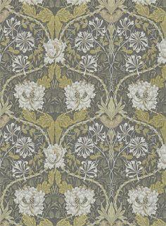 Heckenkirsche und Tulpe von Morris & Co. - Charcoal/ Gold