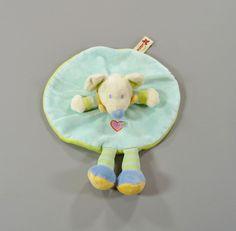 Doudou plat rond Souris bleu vert et coeur Nicotoy 27 cm