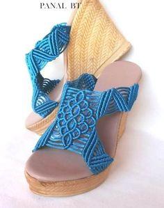 sandalias tejidas macrame altas