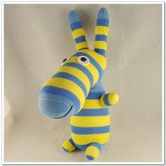 Handmade Sock Donkey Stuffed Animal Doll Baby von supersockmonkeys