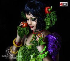 Shalini Tharaka With Vegetable Fashion Clothes Photos, Shalini Tharaka's Vegetable Clothes Photos, Hot And Sexy Actress Shalini Tharaka with vegetable clothes