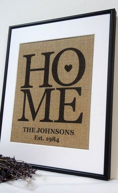 Burlap Home Sign | Could easily make this with burlap, sharpies and a stencil.